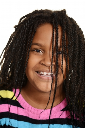 jamaican ethnicity: little black girl with hair over face