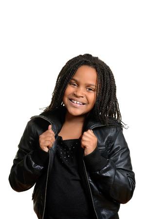 little girl wearing black leather jacket Imagens - 24138966