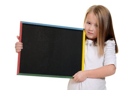 little girl holding chalkboard photo