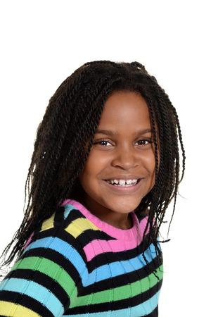 cornrows: portrait little black girl Stock Photo
