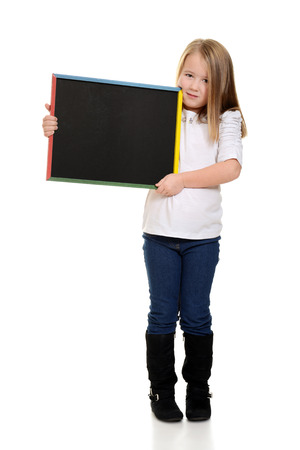 blonde child holding chalkboard photo