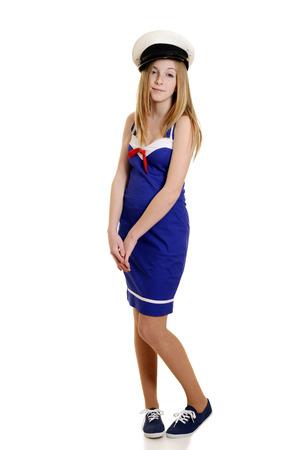 dress suit: innocent teen girl in sailor suit