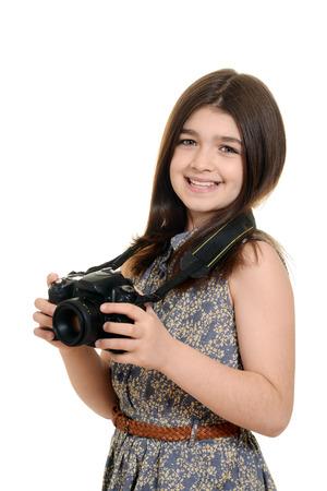 dslr camera: Little girl holding dslr camera