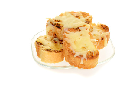 garlic cheese bread on glass plate