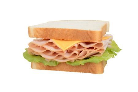 geïsoleerde kip en kaas sandwich Stockfoto