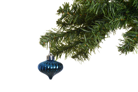 old blue ornament on chistmas tree photo