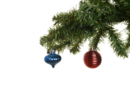 two christmas ornaments on branch photo