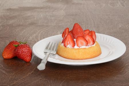 shortcake: strawberry shortcake with a fork Stock Photo