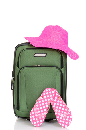 piece of luggage: suitcase with beach hat and sandals