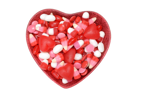 sugar bowl: assorted bowl valentines candy