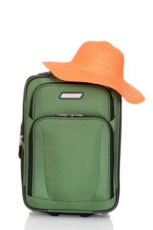 piece of luggage: suitcase with orange beach hat
