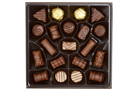 chocolate candy: top view assorted box chocolates Stock Photo