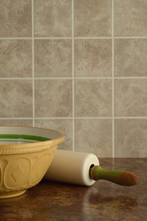 rolling pin: bowl with rolling pin Stock Photo