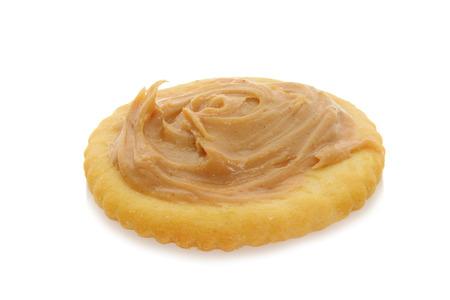 peanut butter: peanut butter on round cracker