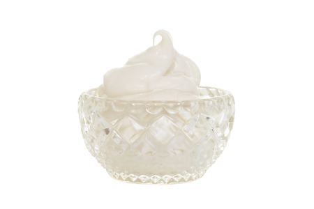 crystal bowl: crystal bowl filled with whipped cream Stock Photo