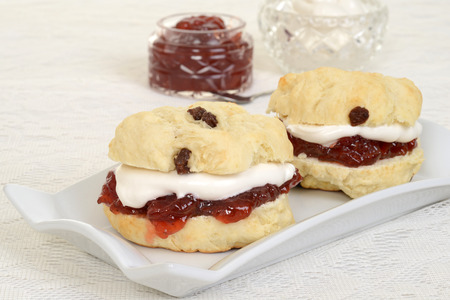 closeup cream tea scones photo