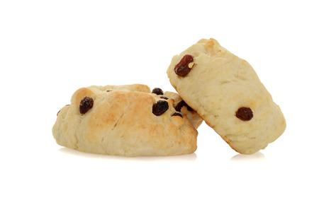 scone: two scones with raisins