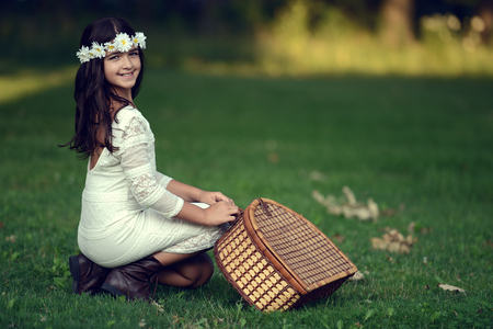 brunette girl: vintage girl ready for a picnic Stock Photo