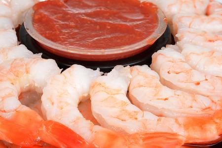 seafood platter: macro large shrimp with seafood sauce Stock Photo