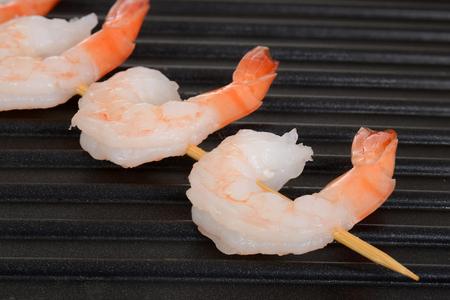 prawn: shrimp skewer on grill