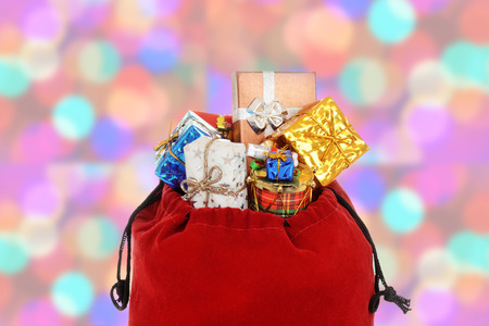closeup of santa claus bag