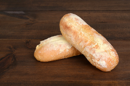 garlic bread: two loaves of garlic bread Stock Photo