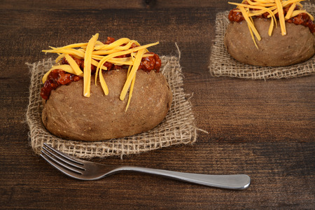 baked: chili and cheese baked potato Stock Photo