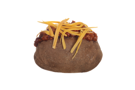 isolated baked potato with chili and cheese