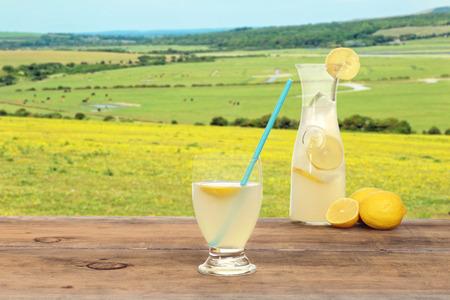 field glass: springtime glass of lemonade