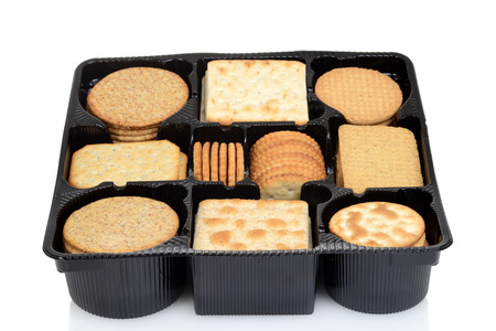 oatmeal cookie: box assorted crackers Stock Photo