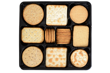 box: top view box assorted crackers Stock Photo