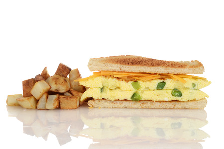 omelet: toasted western sandwich with fries
