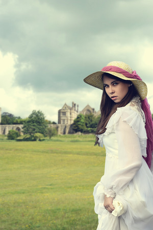 victorian girl: victorian woman with manor house