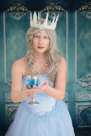 ice queen: evil ice queen offering poison drink