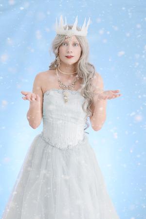 ice queen: beautiful ice queen making snow