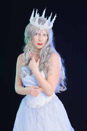 queen: ice queen with black background Stock Photo