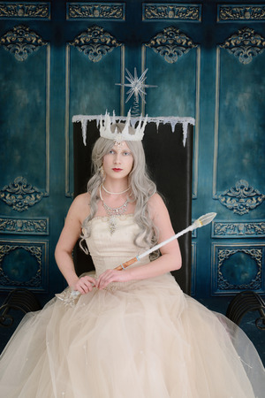 ice queen: ice queen sitting on her throne Stock Photo