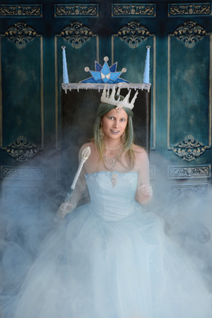 throne: snow queen and throne with fog Stock Photo