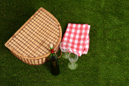 top view picnic basket with wine