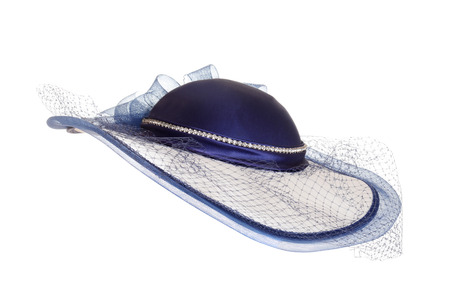 bonnet up: ladies blue hat with veil Stock Photo
