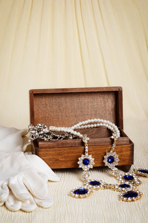 jewellery box: antique wood jewellery box and gloves