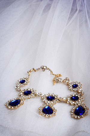 diamond necklace: vintage diamond sapphire necklace Stock Photo