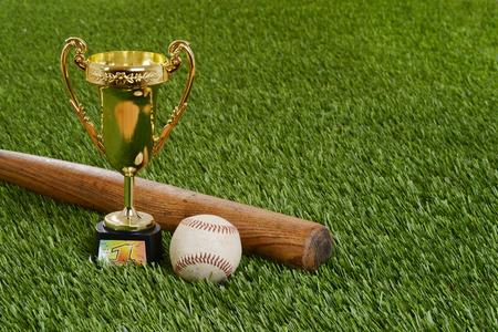 closeup baseball trophy with bat and hard ball Stock fotó