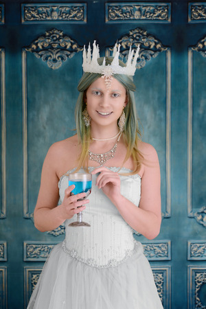 snow queen holding a chalice Stock Photo