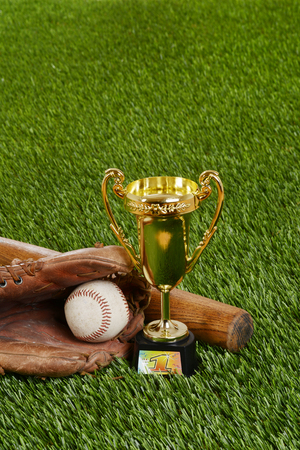 bat and ball: baseball trophy with bat ball and glove