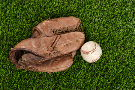mitt: top view baseball glove and ball Stock Photo
