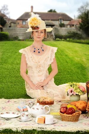edwardian: vintage edwardian woman at picnic Stock Photo