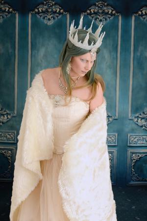 ice queen: ice queen wearing fur wrap Stock Photo