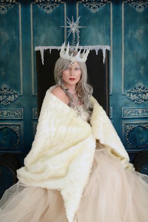 cloak: snow queen wrapped in fur cloak