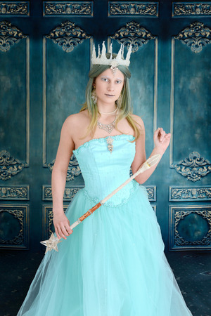 queen with ice crown and wand